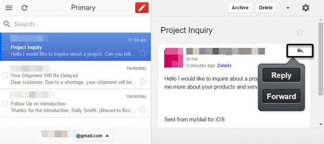 Gmail Offline app Reply and Forward buttons
