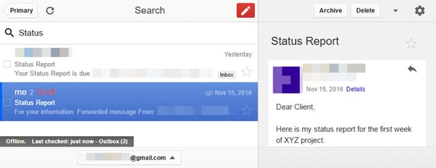 Gmail Offline search results