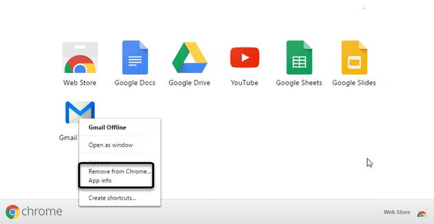 Gmail Offline Apps screen drop-down menu