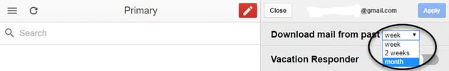 Drop-down menu for Gmail Offline