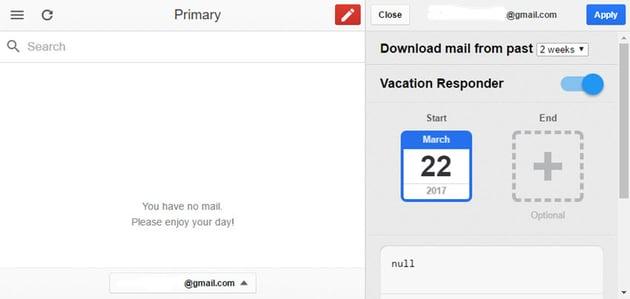 Gmail Offline Vacation Responder options