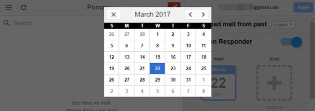 Vacation Responder calendar