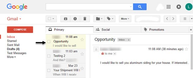 Sales messages in Gmail Preview Pane