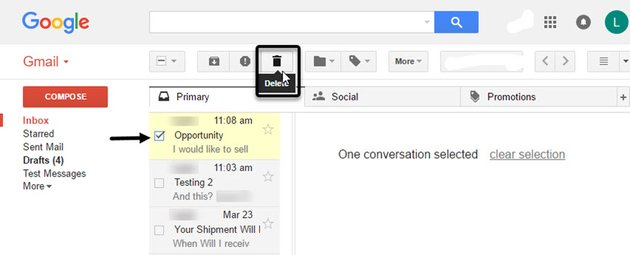 Deleting a message from the Gmail Preview Pane