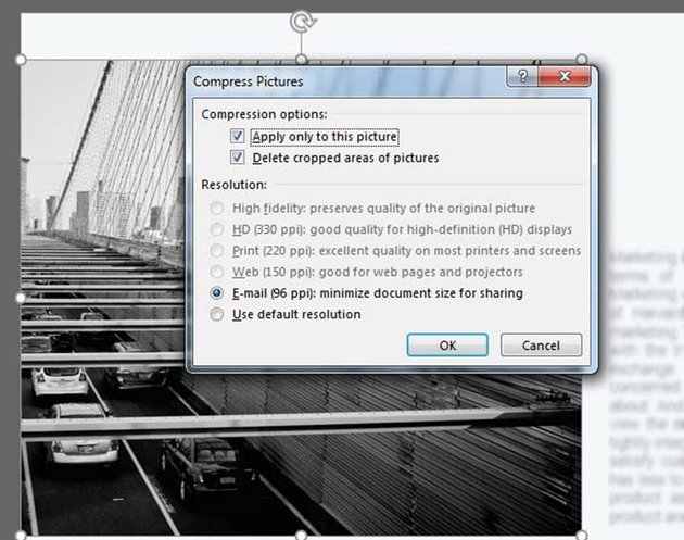 Compress pictures in PowerPoint  settings