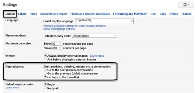 Gmail Labs Auto-advance settings