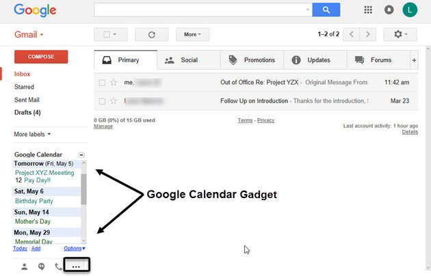 Gmail Labs Google Calendar Gadget