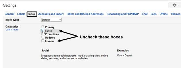 Disabling Gmail Inbox Tabs