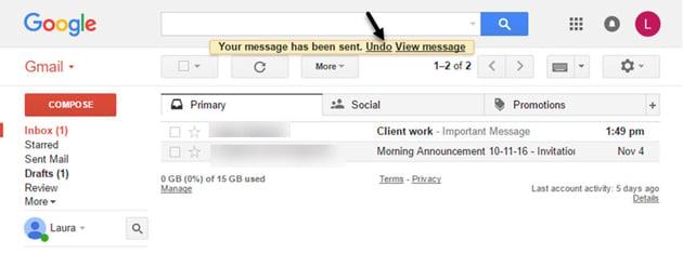 Gmail tutorials--undounsend message