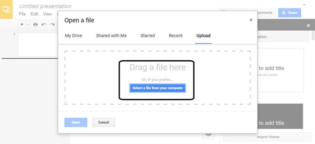 Open a File Dialog Box in Google Slides