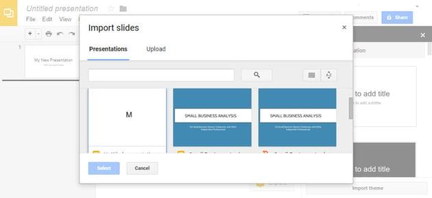 Google Slides to PowerPoint Import Slides dialog box
