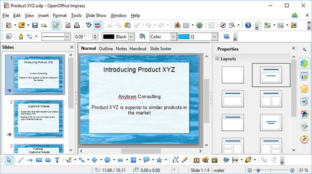 Google Slides converting Open Office presentation