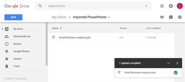 Your PowerPoint file opens in Google Slides