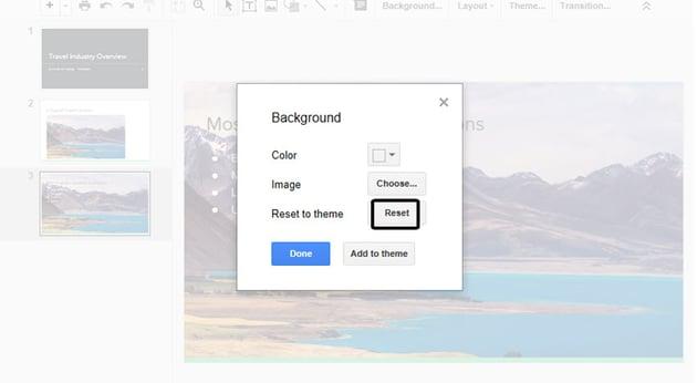 Reset Background in Google Drive Slides
