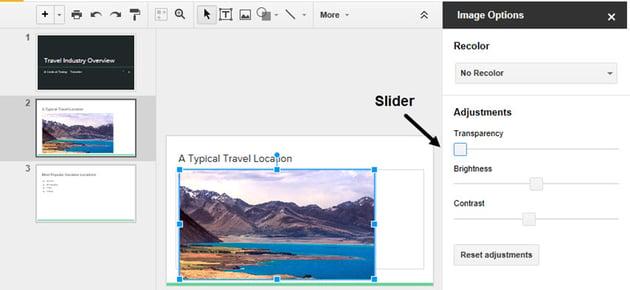 Google Slides Transparency Slider