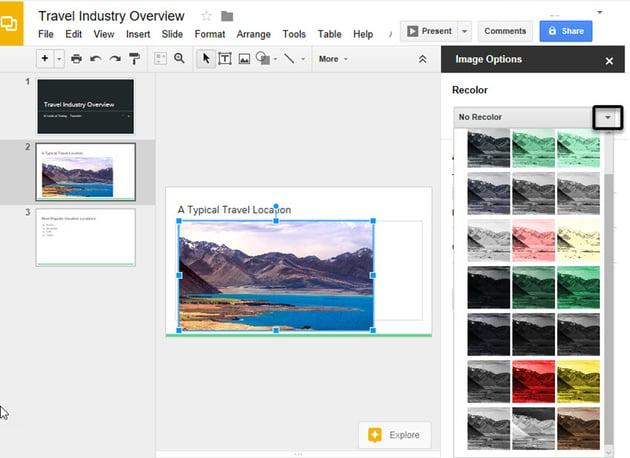 Google Drive Slide Recolor Image Option