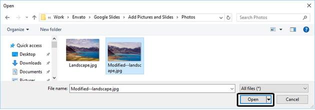 File Explorer in Google Drive Slides