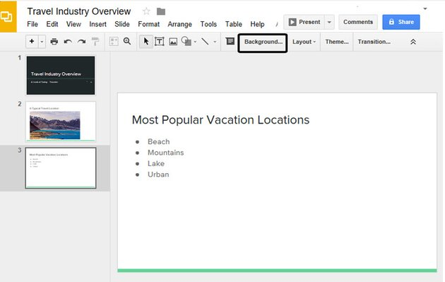 Open the Google Slide with the background you want to change