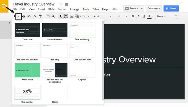 Google Slides Presentation Layout Options
