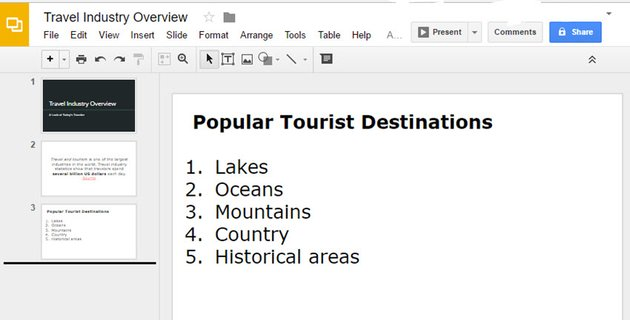 Add Numbered List to Google Slides text