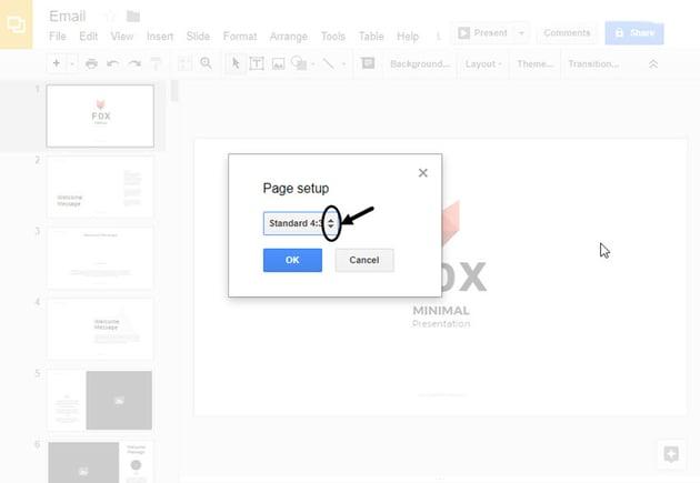 Page Setup dialog box in Google Slides