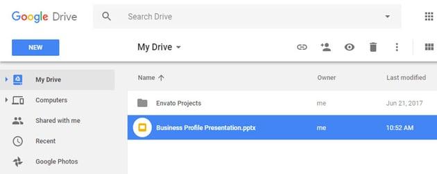 Open Google Drive and find your Google Slides presentation