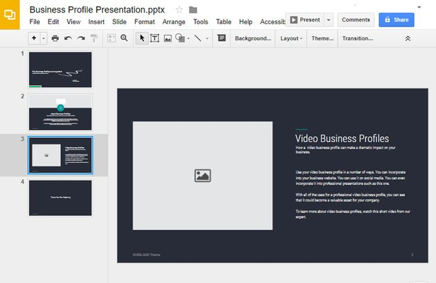 Selecting a Slide to insert your video