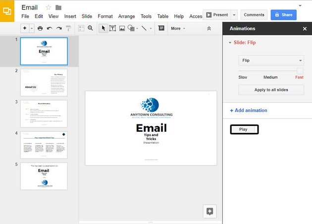 Play Button on Animations Panel in Google Slides