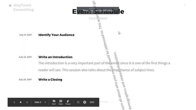 Testing an Animation in Google Slides presentation