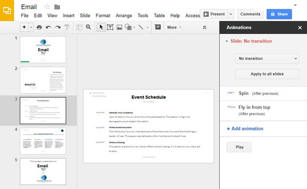 Animations Panel in Google Slides