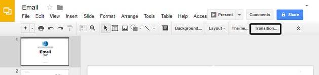 Transition Button in Google Slides