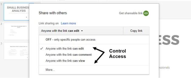 Definieren Sie die Zugriffsebene auf Google Slides-Präsentationen