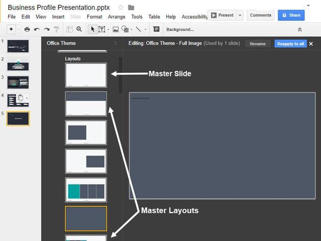 Google Präsentationen-Master-Folien-Tool