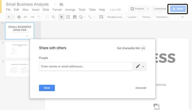 Dialogfeld zum Teilen von Google-Präsentationen