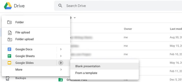 Google Drive new presentation