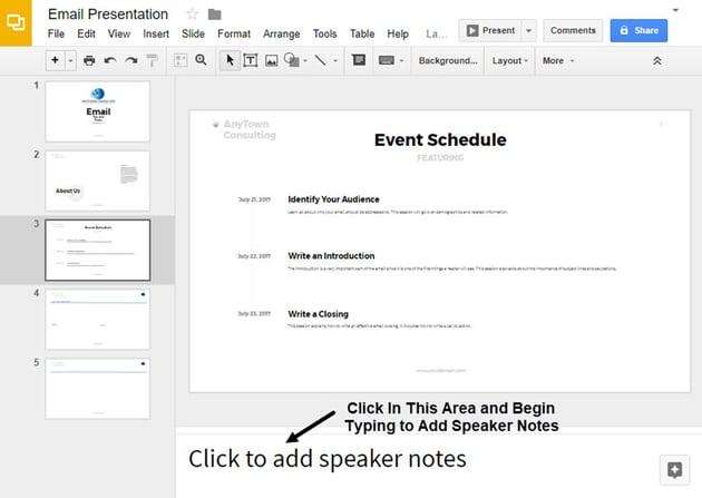 Select a Slide in Google Slides presentation