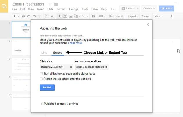 Embed Tab in Google Slides