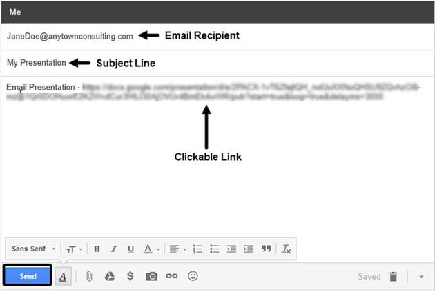 Gmail Window with Presentation Link