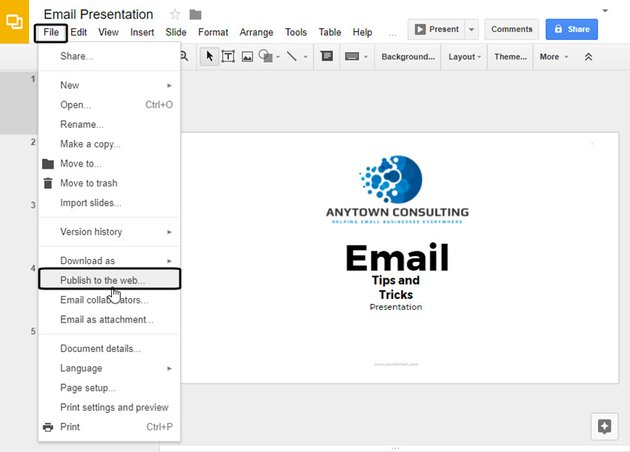 Google Slides File Drop-down menu