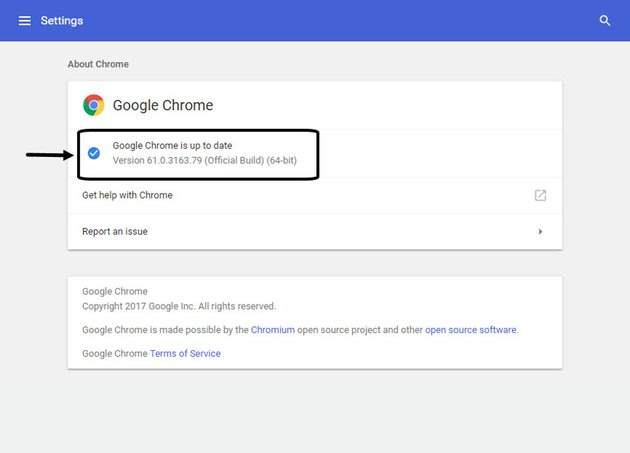 About Chrome Screen