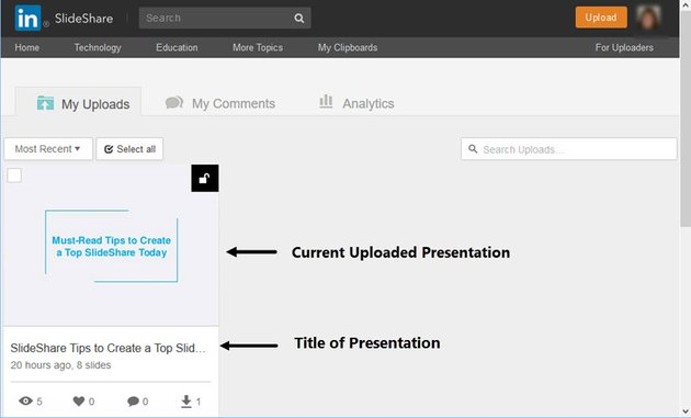 Finding Your SlideShare Presentation to share