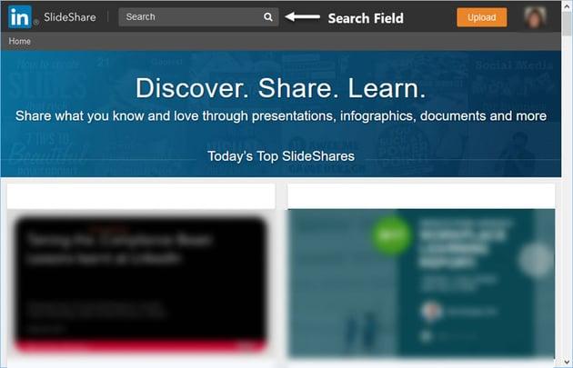 Main SlideShare Screen