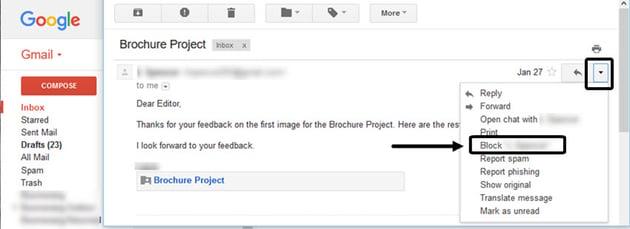 Block Sender Option in Gmail