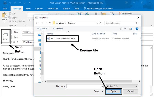attach a file with resume and cover letter to an email in Gmail