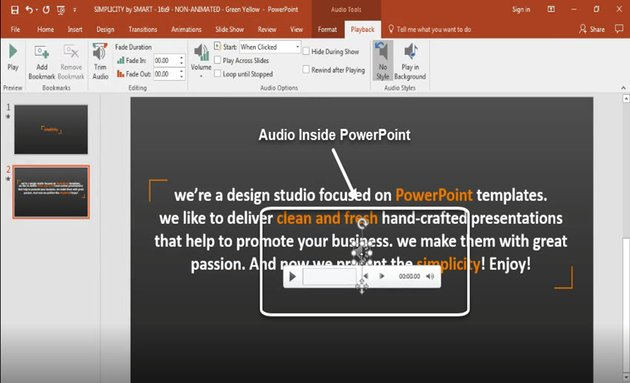 Audio icon in PowerPoint