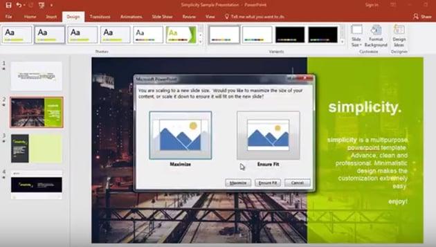 Microsoft PowerPoint reformatting options
