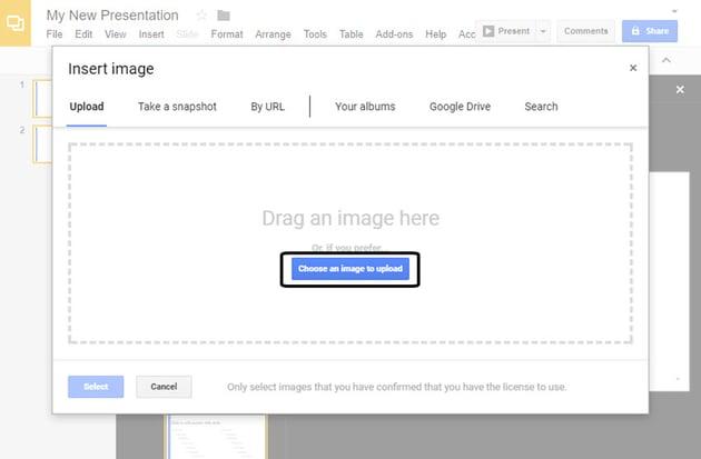 Google Slides Insert image screen