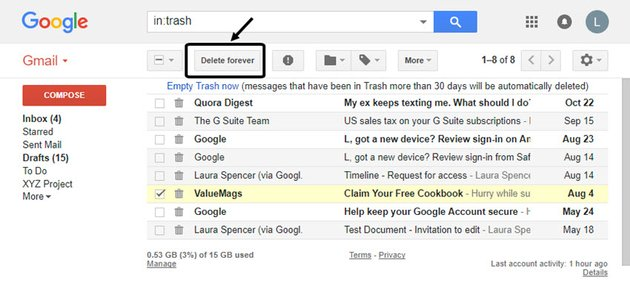 How to permanently delete Gmail emails with the Delete forever button