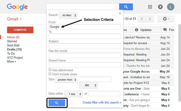 Selecting criterial to mass delete Gmail messages