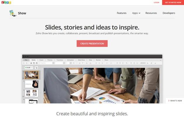 Zoho Show presentation software